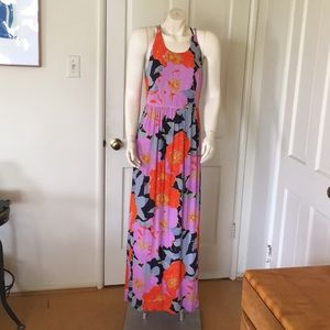 Loft floral maxi dress criss cross straps